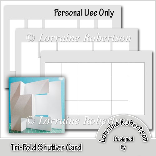 Tri fold shutter card template instant card for Card making templates free download