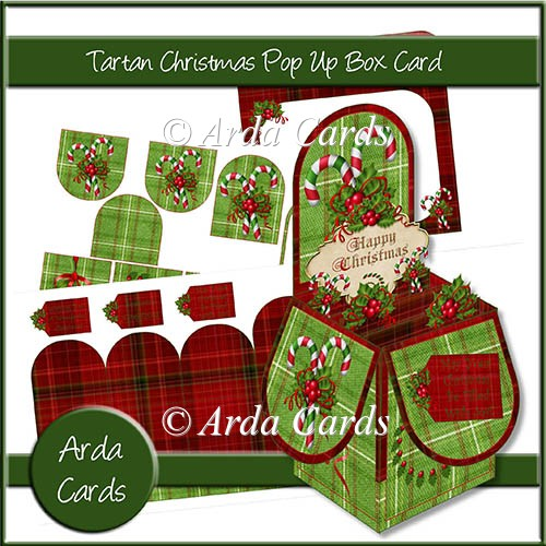 Tartan Christmas Pop Up Box Card - Click Image to Close
