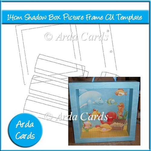 card making templates free download - 14cm shadow box picture frame cu template
