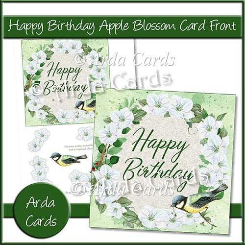 Happy Birthday Apple Blossom Card Front - Click Image to Close