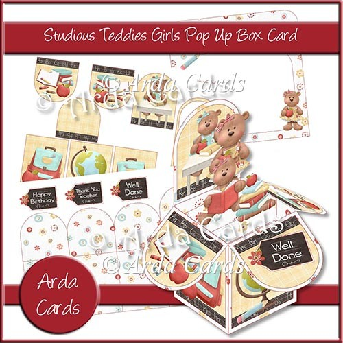 Studious Teddies Girls Pop Up Box Card - Click Image to Close