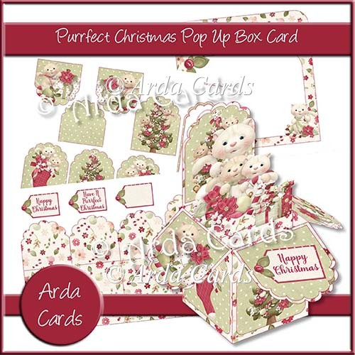 Purrfect Christmas Pop Up Box Card - Click Image to Close