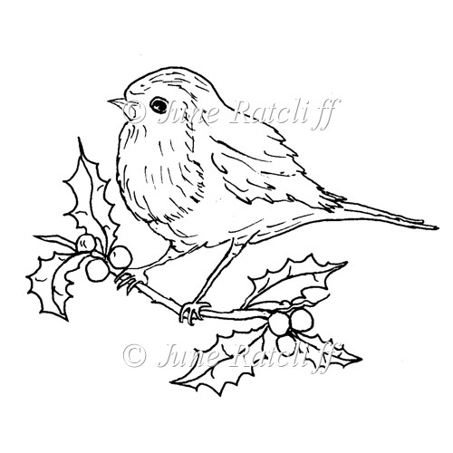 Line Drawing Robin : Christmas robin £ instant card making downloads