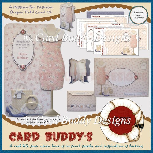 A Passion for Fashion Shaped Fold Card Kit - Click Image to Close