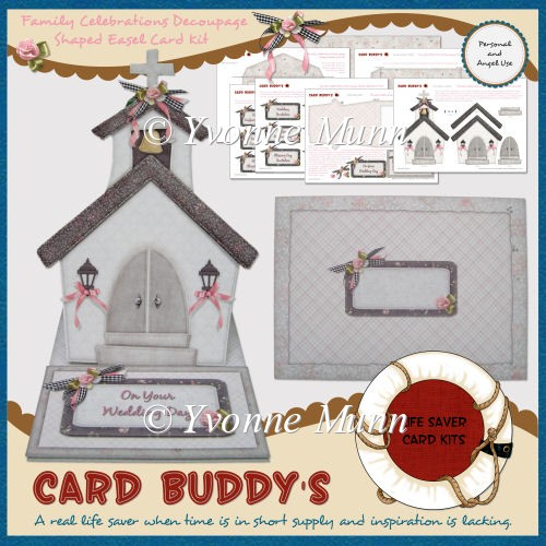 Family Celebrations Decoupage Shaped Easel Card Kit - Click Image to Close