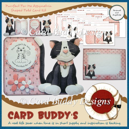 Purrfect For Me Assymetric Shaped Fold Card Kit - Click Image to Close