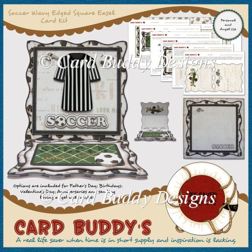 Soccer Wavy Edged Square Easel Card Kit - Click Image to Close