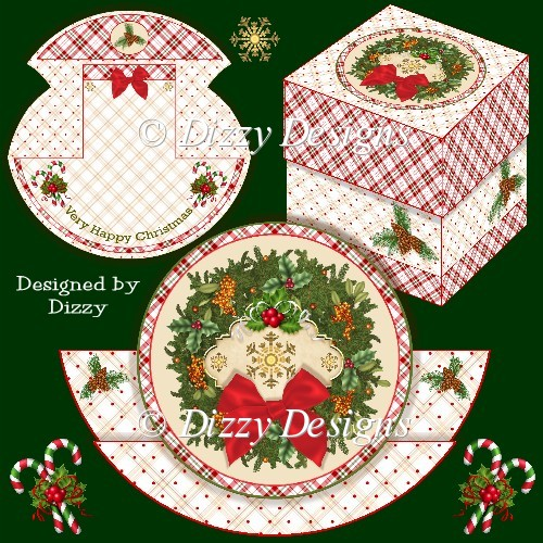 Christmas Wreath Stepper Rocker Card with Freebie Gift Box - Click Image to Close