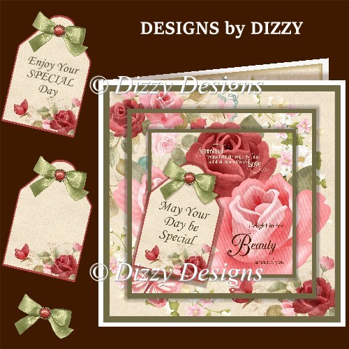 Floral Layered Card Front with Inserts - Click Image to Close