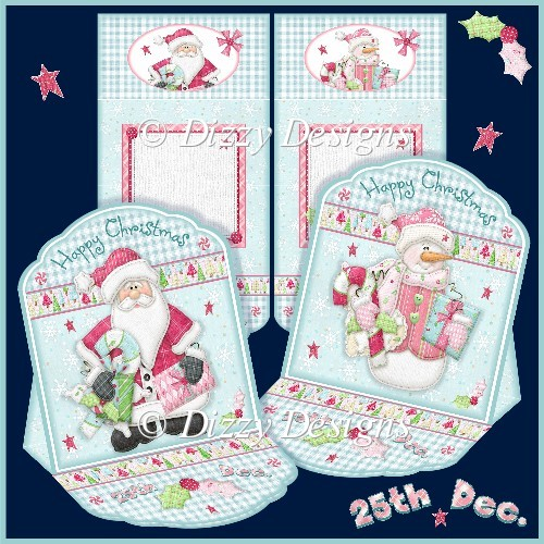 Santa and Snowman Mini Easel Cards - Click Image to Close