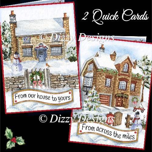 Christmas Houses - 2 Quick Cards - Click Image to Close