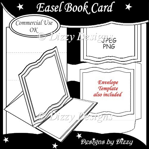Easel book card template instant card making for Card making templates free download