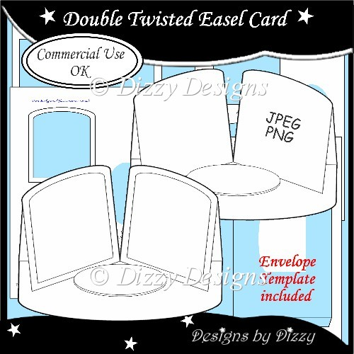 card making templates free download - double twisted easel card template instant card