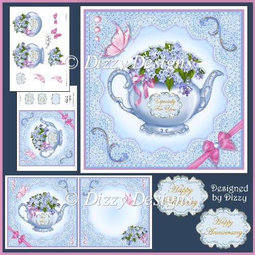 Floral Teapot Card Front, Inserts and Decoupage - Click Image to Close