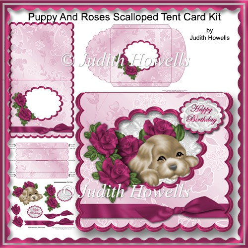 Puppy And Roses Scalloped Tent Card Kit - Click Image to Close