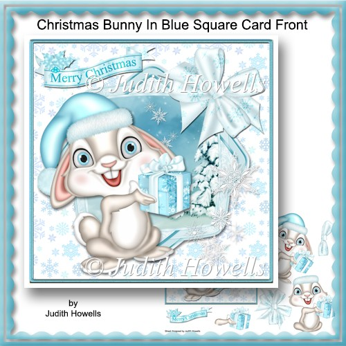 Christmas Bunny In Blue Square Card Front - Click Image to Close