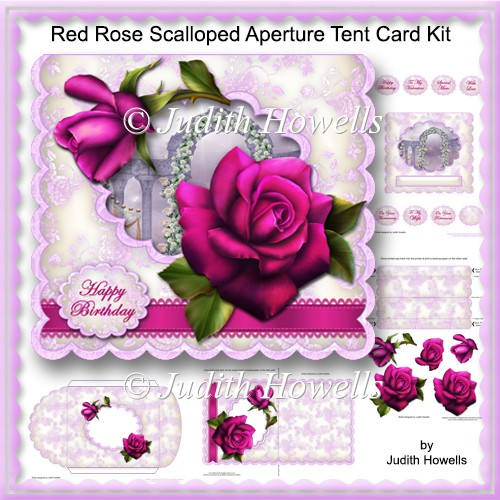Red Rose Scalloped Aperture Tent Card Kit - Click Image to Close