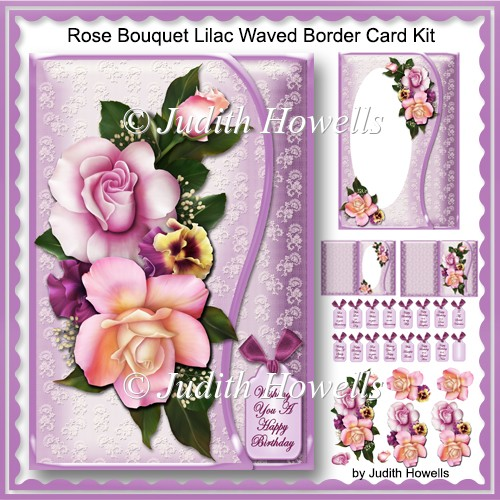 Rose Bouquet Lilac Waved Border Card Kit - Click Image to Close