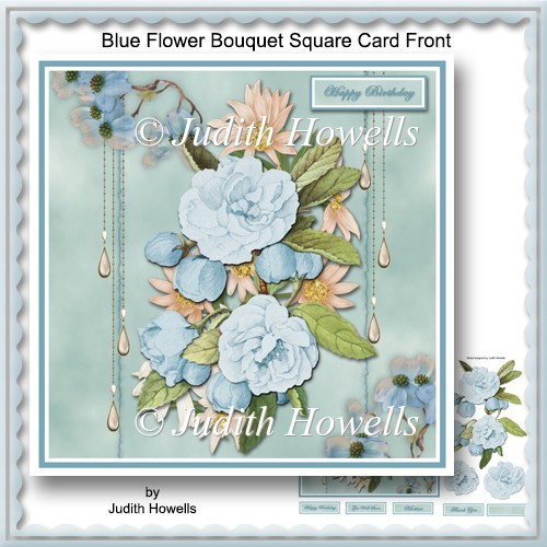 Blue Flower Bouquet Square Card Front - Click Image to Close