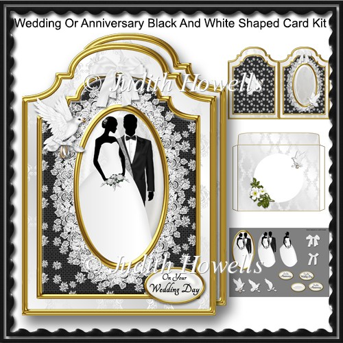 Wedding Or Anniversary Black And White Shaped Card Kit - Click Image to Close