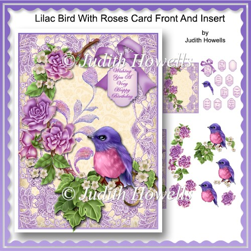 Lilac Bird With Roses Card Front And Insert - Click Image to Close