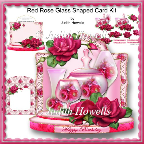 Red Rose Glass Shaped Card Kit - Click Image to Close