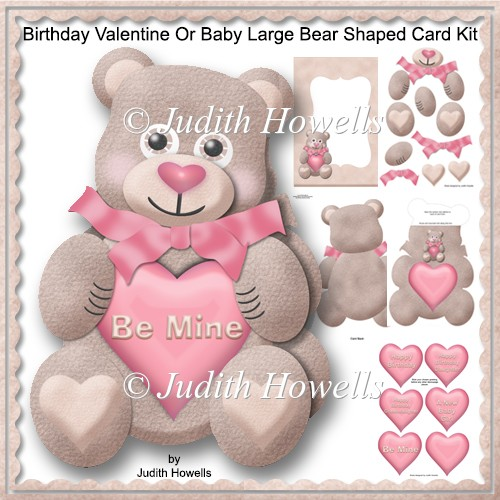 Birthday Valentine Or Baby Large Bear Shaped Card Kit - Click Image to Close