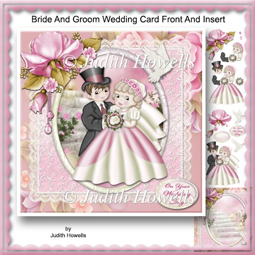 Bride And Groom Wedding Card Front And Insert - Click Image to Close