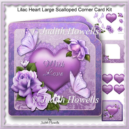 Lilac Heart Large Scalloped Corner Card Kit - Click Image to Close
