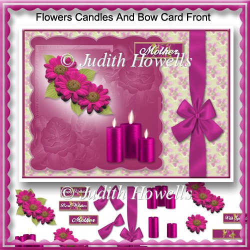 Flowers Candles And Bow Card Front - Click Image to Close