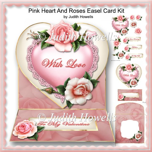 Pink Heart And Roses Easel Card Kit - Click Image to Close