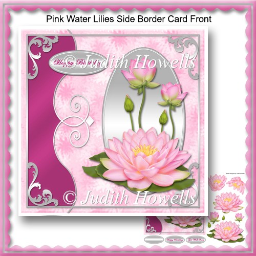 Pink Water Lilies Side Border Card Front - Click Image to Close
