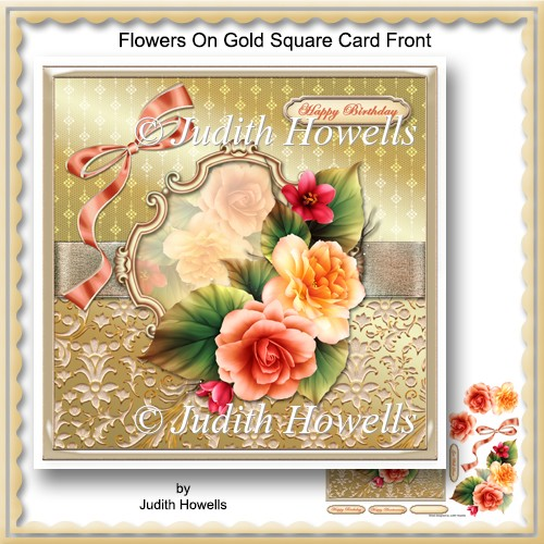 Flowers On Gold Square Card Front - Click Image to Close