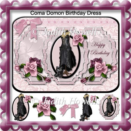 Coma domon birthday dress decoupage card front for Domon online