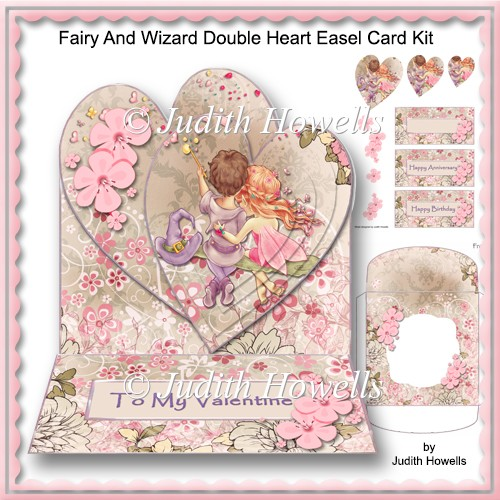 Fairy And Wizard Double Heart Easel Card Kit - Click Image to Close