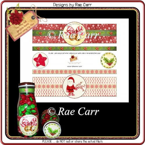 PS188 Santa and Bells Bottle Wraps - Click Image to Close