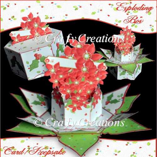 Poinsettia Exploding Box Card/Keesake - Click Image to Close