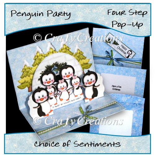 Penguin Party Pop-up Card - Click Image to Close