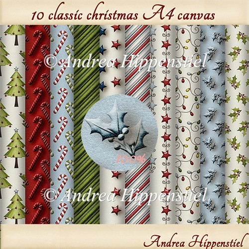 10 x A4 sheets classic christmas canvas backgroundpaper. - Click Image to Close
