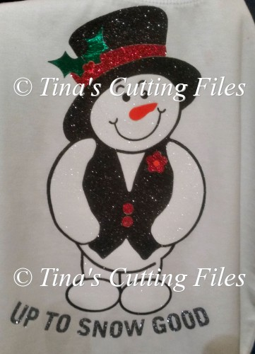 Christmas Snowman Up to snow good - knock out layered ready - Click Image to Close