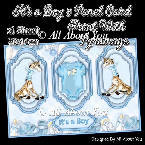 Its a Boy 3 Panel Card Front - Click Image to Close