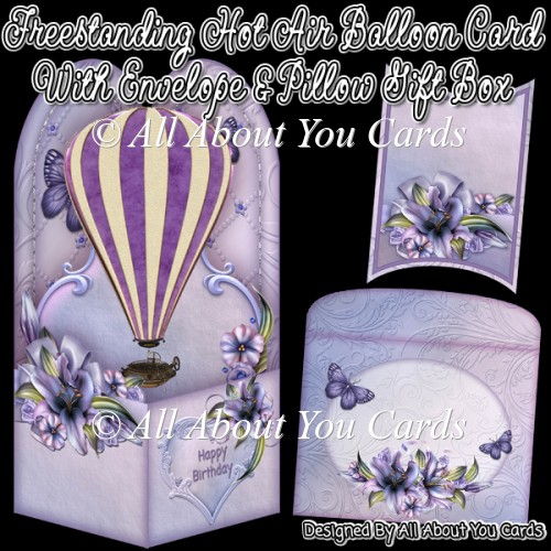 Freestanding Hot Air Balloon Card & Envelope & Pillow Gift Box - Click Image to Close
