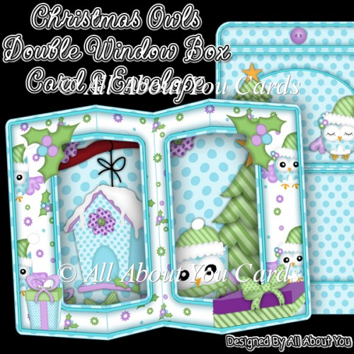 Christmas Owls Double Window Box Card - Click Image to Close
