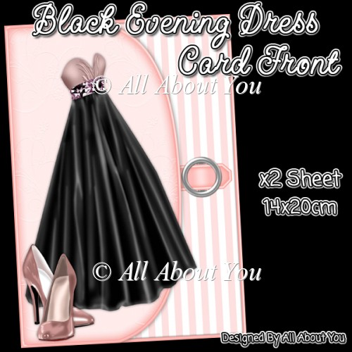 Black Evening Dress Card Front - Click Image to Close