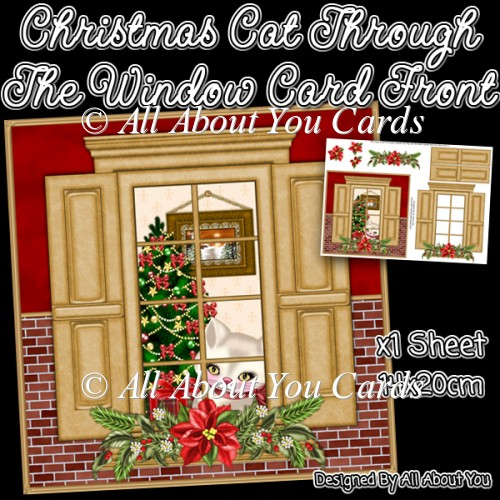Christmas Cat Through The Window Card Front - Click Image to Close