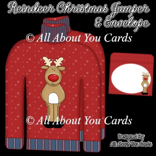 Reindeer Christmas Jumper Card & Envelope - Click Image to Close