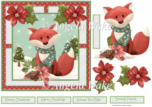 red fox and poinsettia 7x7 - Click Image to Close