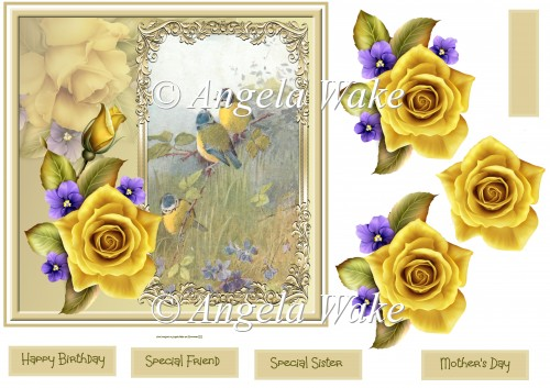 Yellow rose and birds 7x7 - Click Image to Close