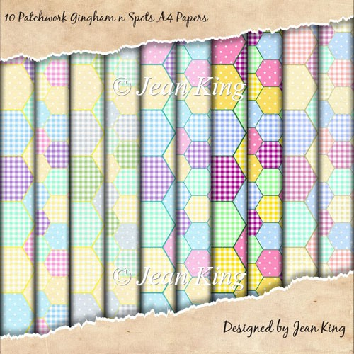 10 Patchwork Gingham n Spots A4 Papers - Click Image to Close