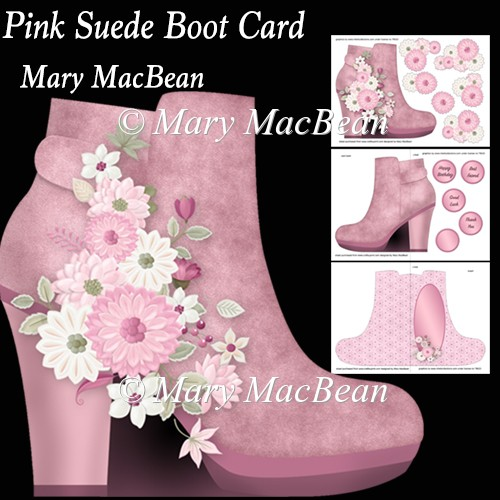 Pink Suede Boot Card - Click Image to Close